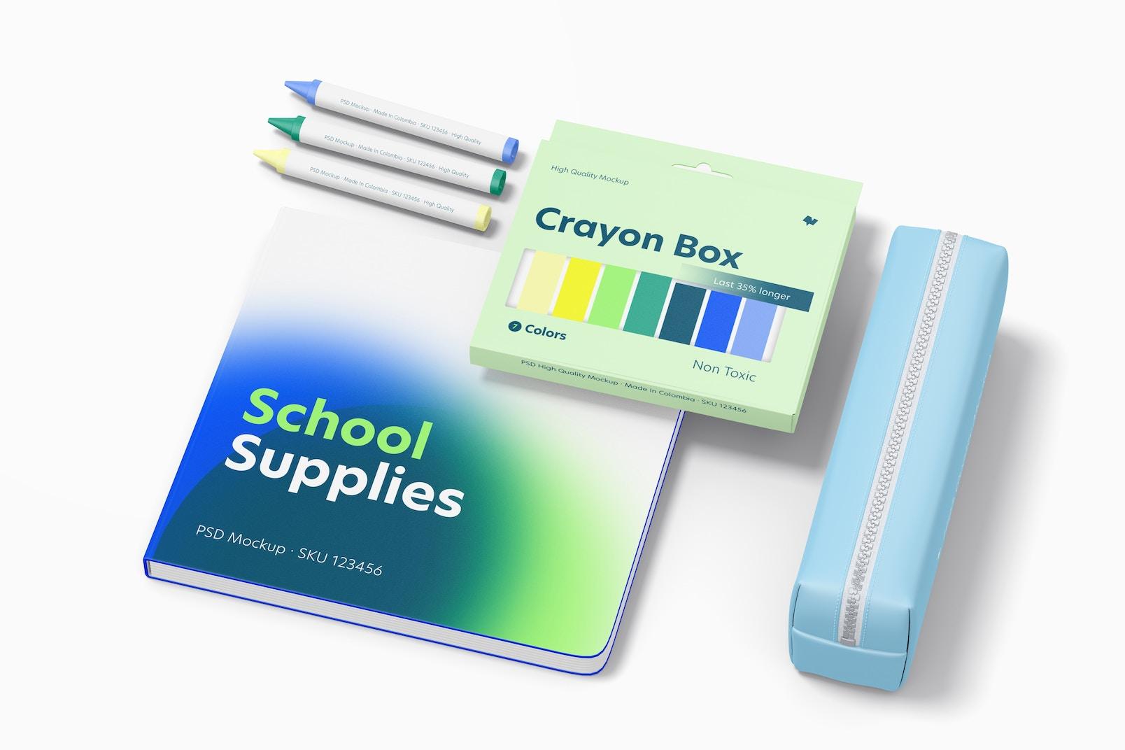 School Supplies Mockup, Floating