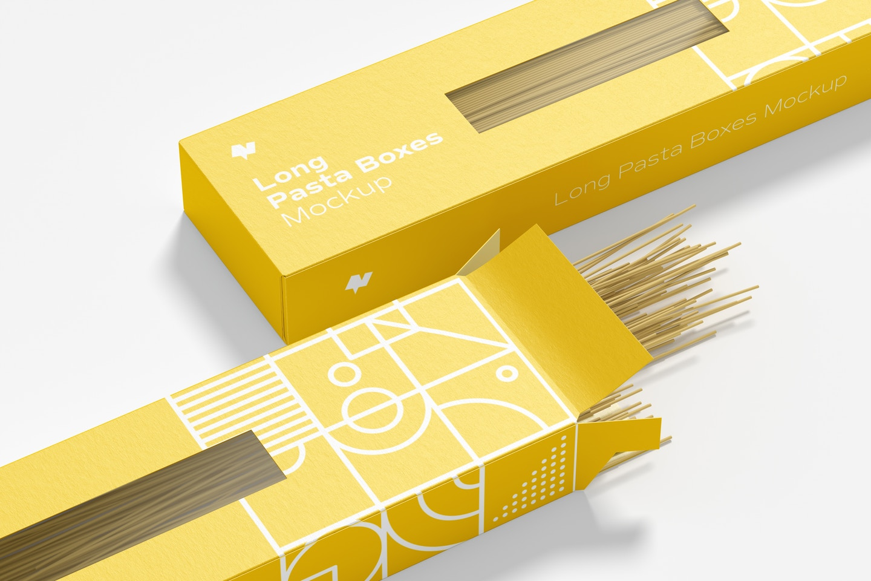 Long Pasta Boxes Mockup, Close-Up