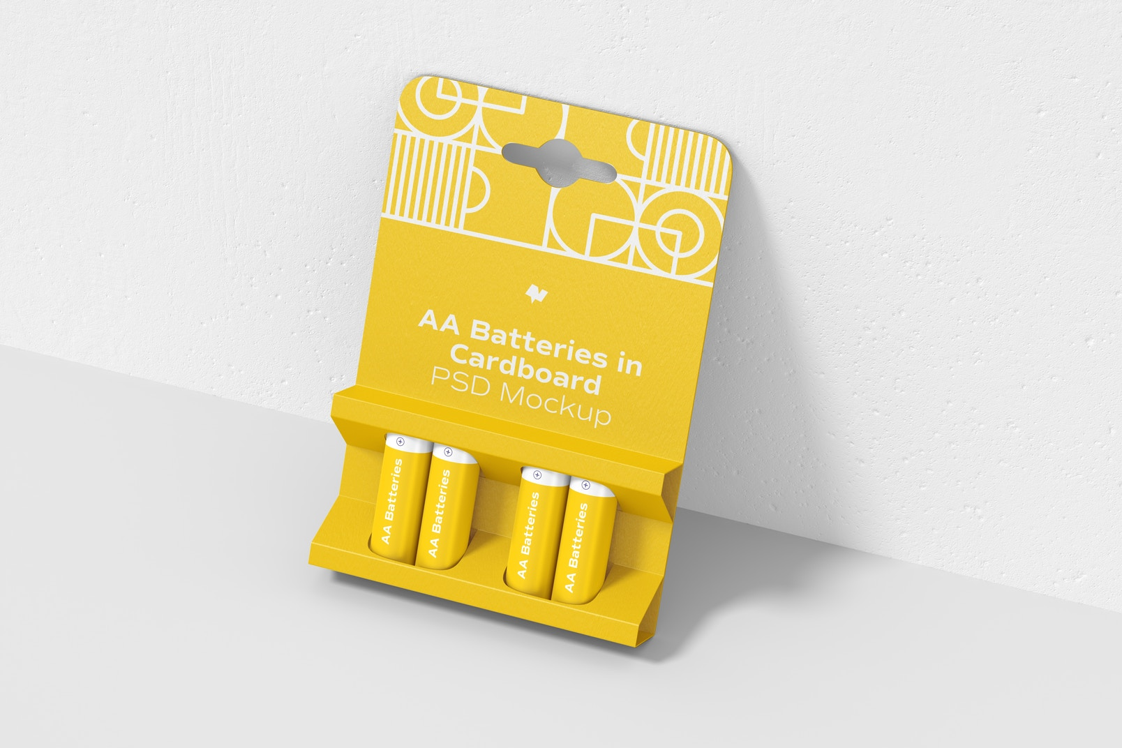 AA Batteries in Cardboard Mockup, Leaned