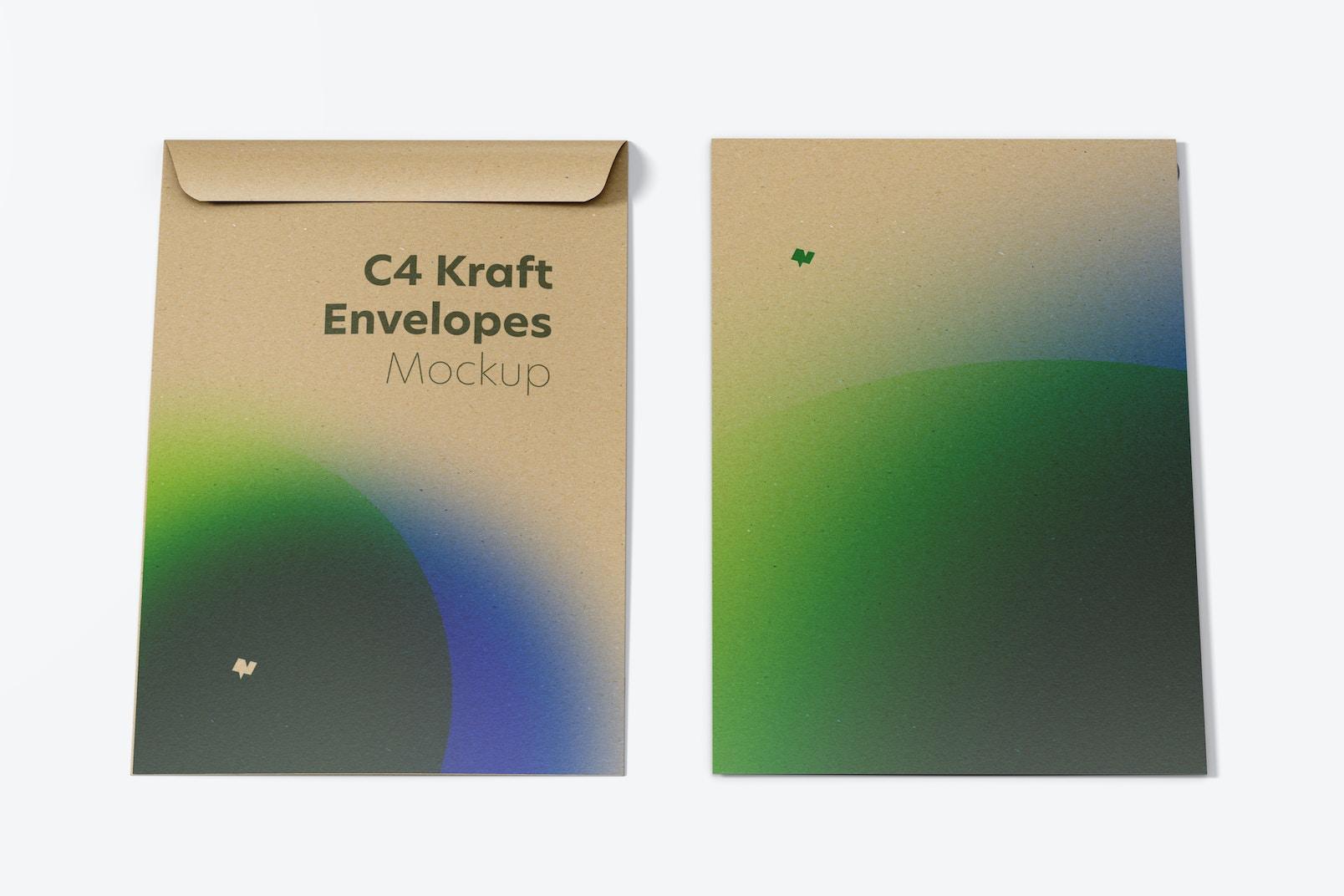C4 Kraft Envelopes Mockup, Front View