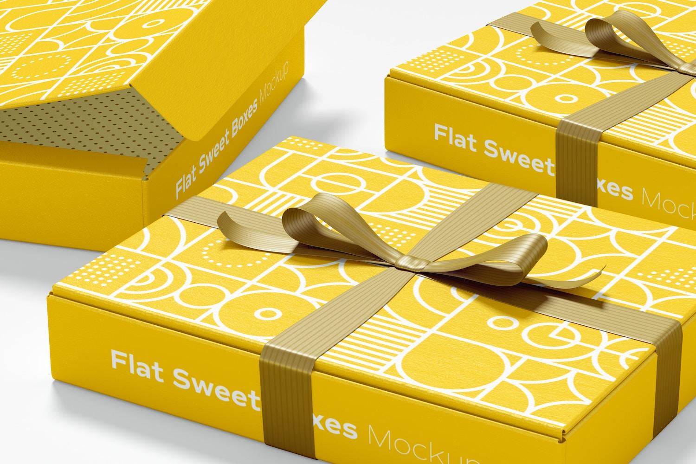 Flat Sweet Boxes with Ribbon Mockup, Close-Up