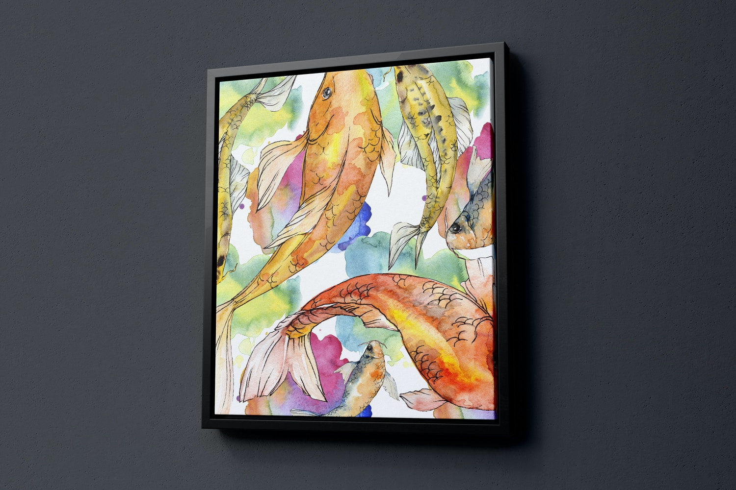 5:6 Portrait Canvas Mockup in Floater Frame, Right View