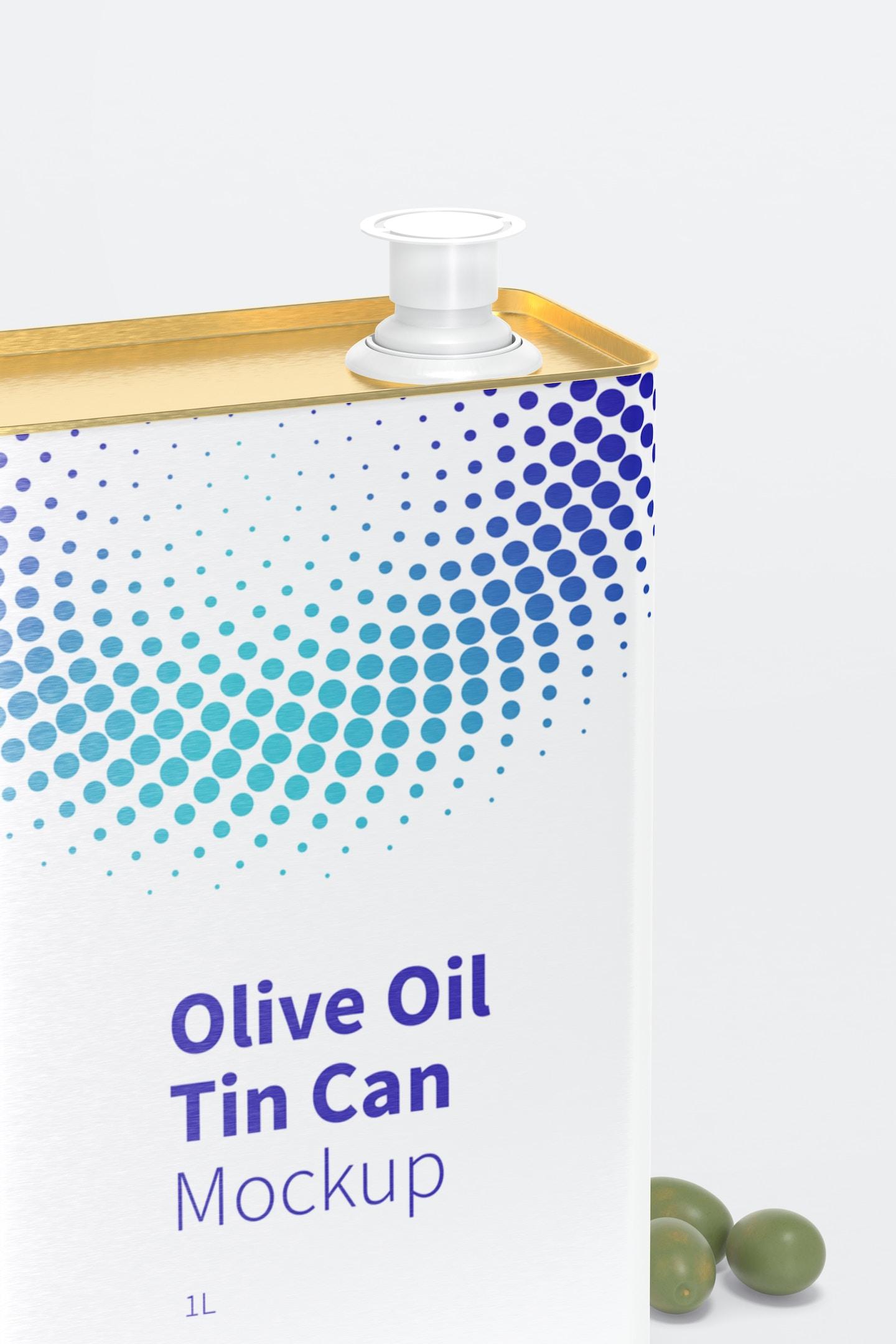 1 Liter Olive Oil Rectangular Tin Can Mockup, Close-Up