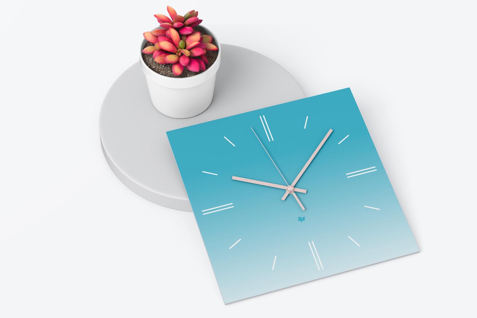 Square Wall Clock Mockup, Top View