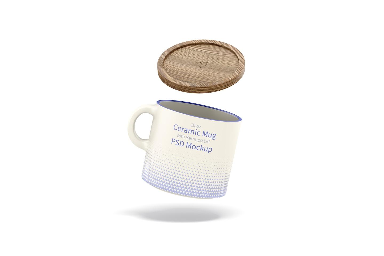 10 oz Ceramic Mug with Bamboo Lid Mockup, Floating