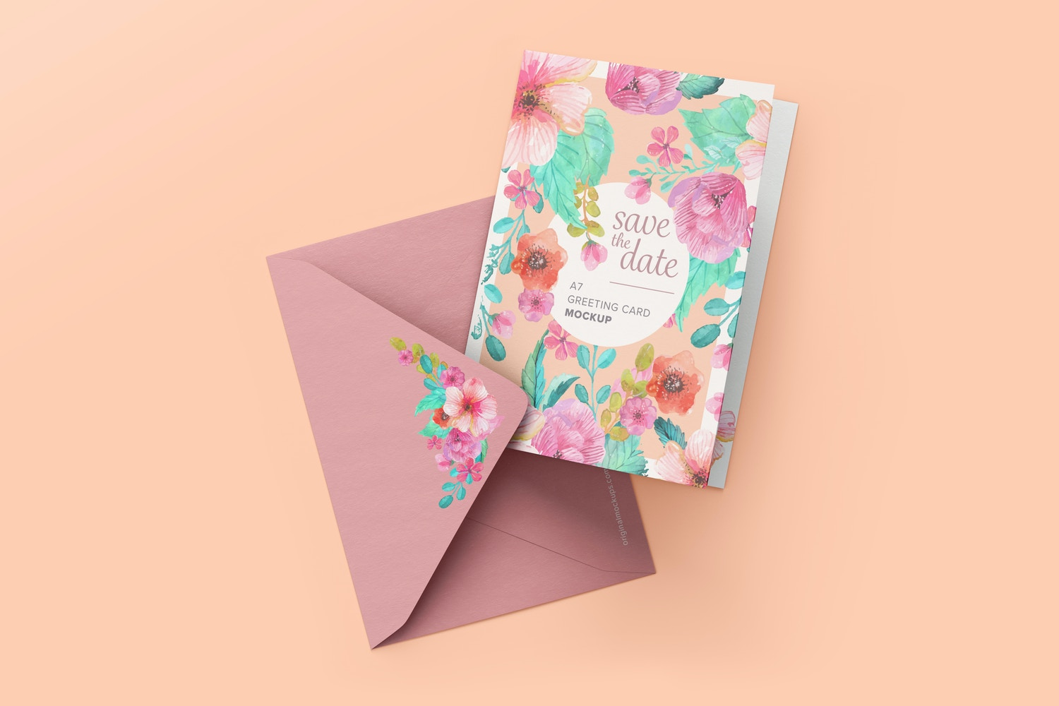 Portrait A7 Greeting Card Mockup with Envelope, Top View