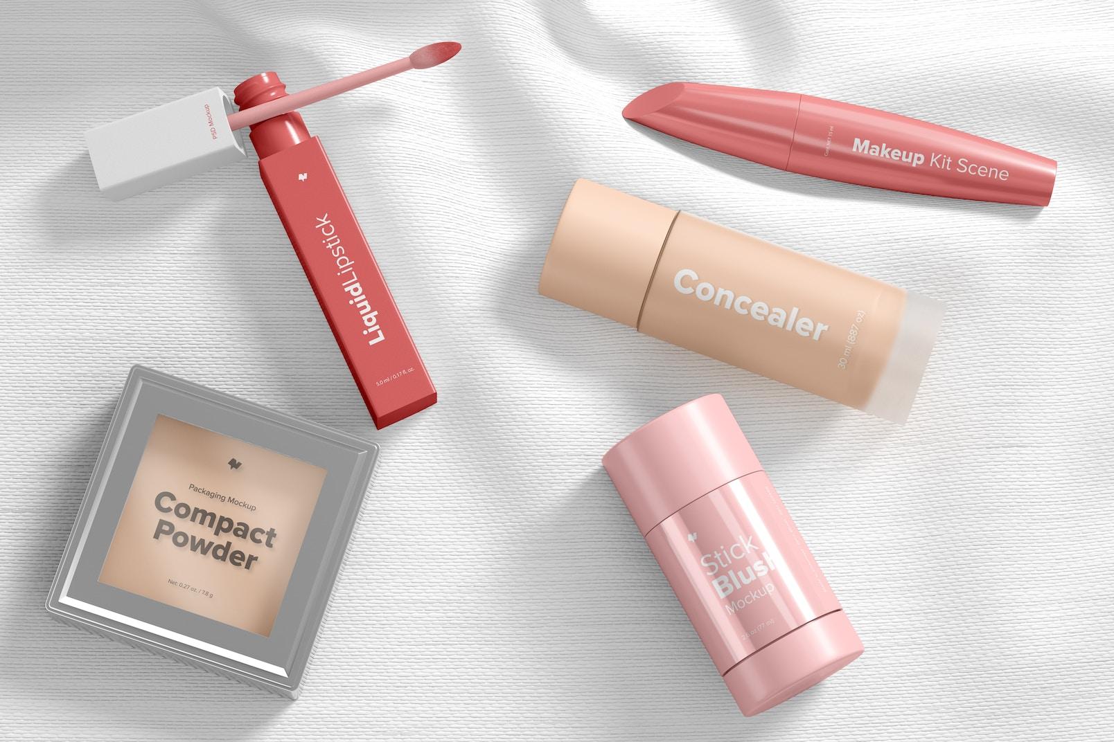 Makeup Kit Scene Mockup, Top View