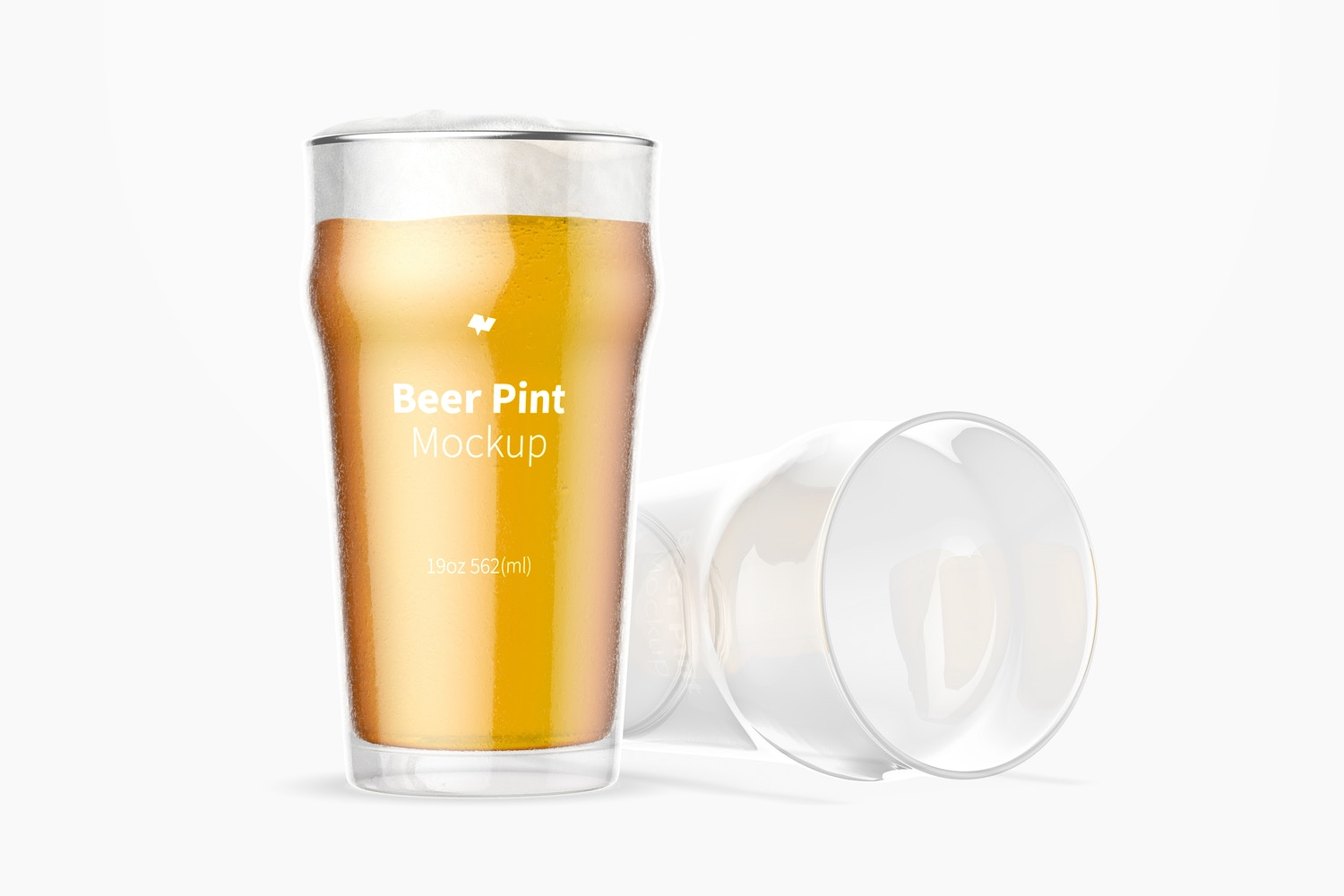19 oz Beer Nonic Pint Glass Mockup, Dropped