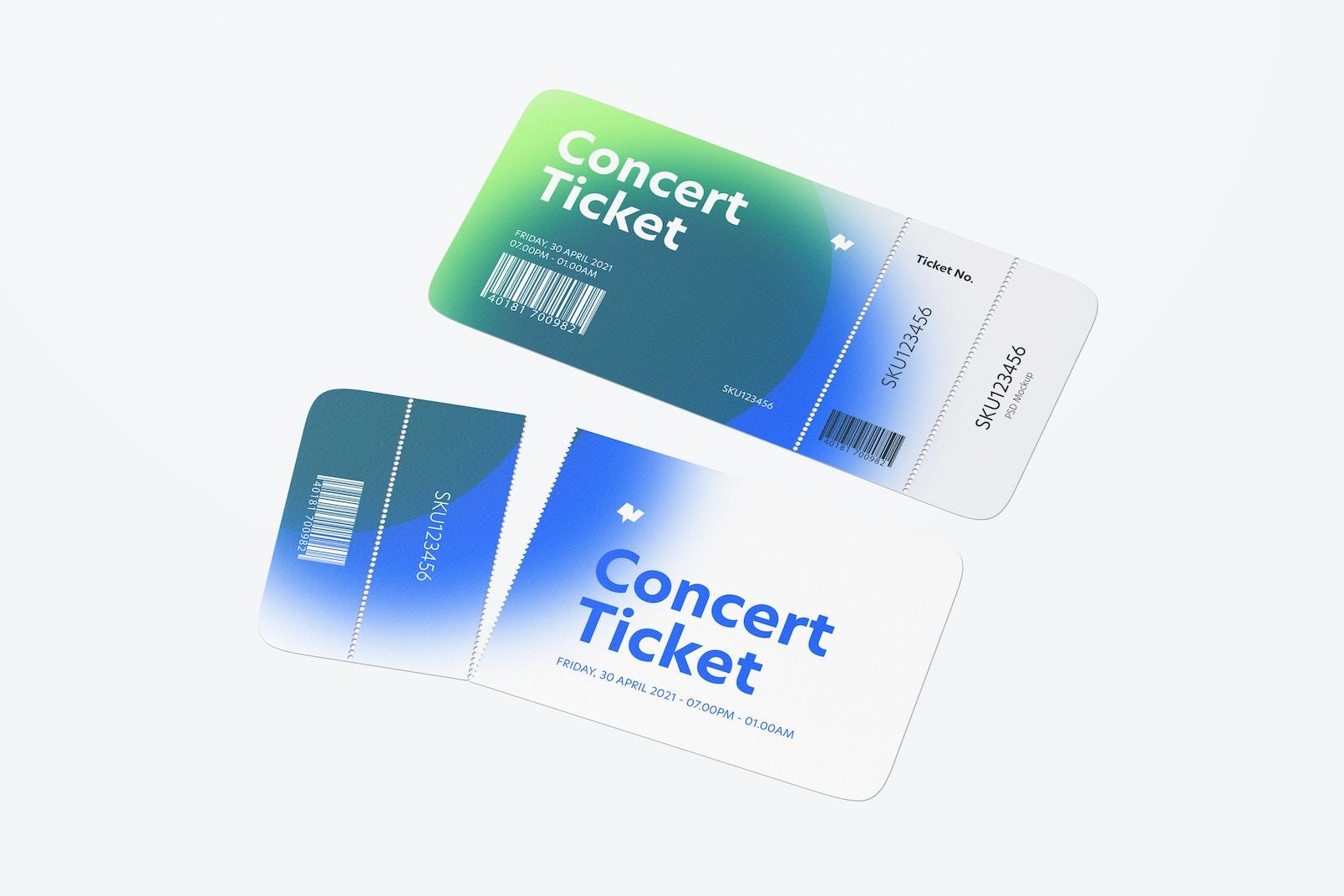 Concert Ticket Mockup, Perspective