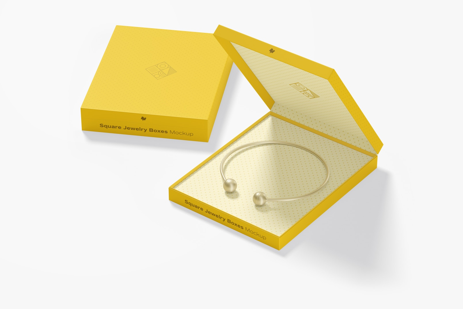 Square Jewelry Boxes Mockup, Opened and Closed