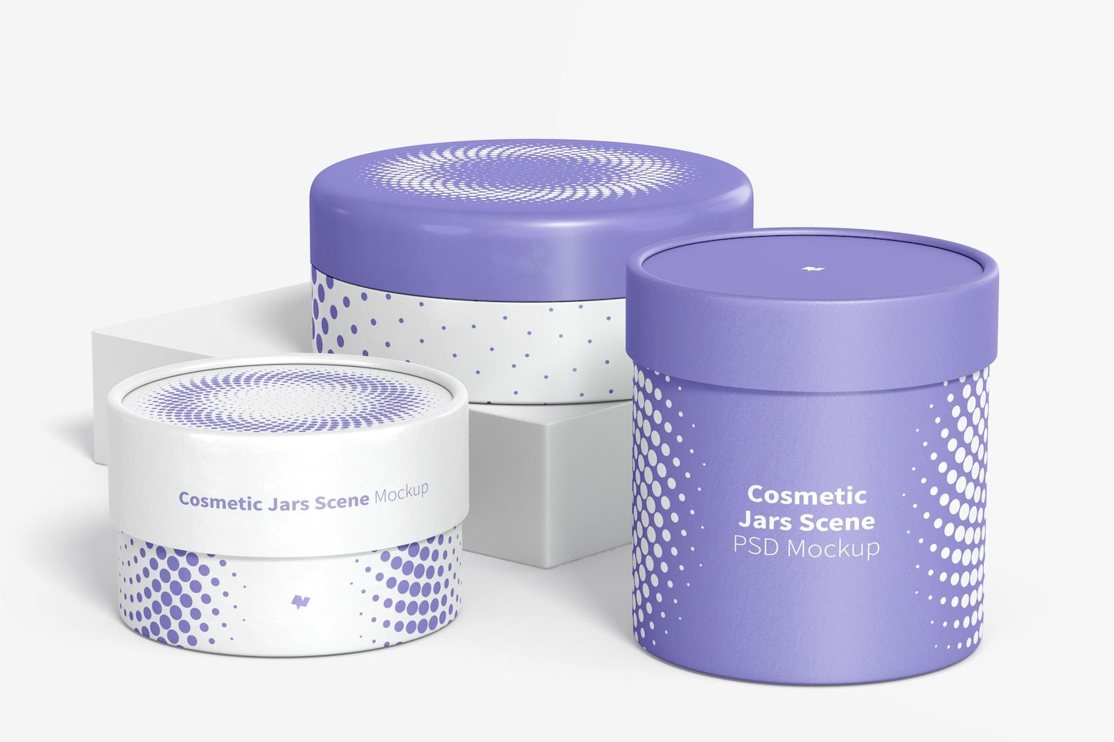 Cosmetic Jars Scene Mockup 02