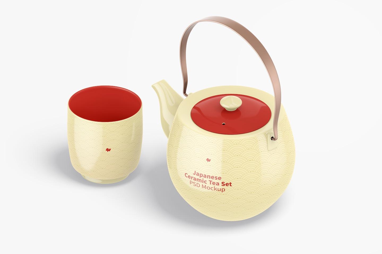 Japanese Ceramic Tea Set Mockup, Isometric View