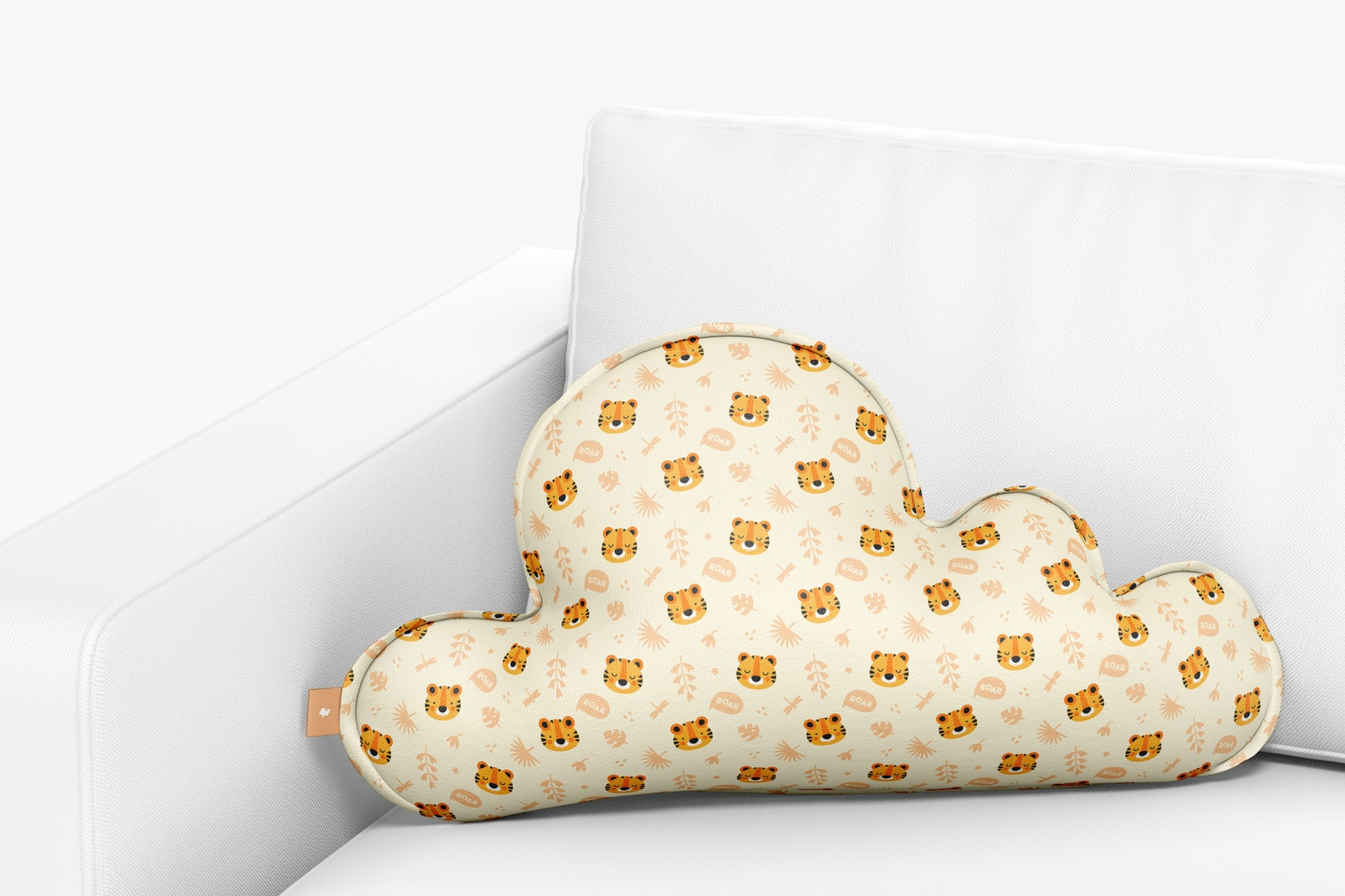 Cloud Pillow on Sofa Mockup