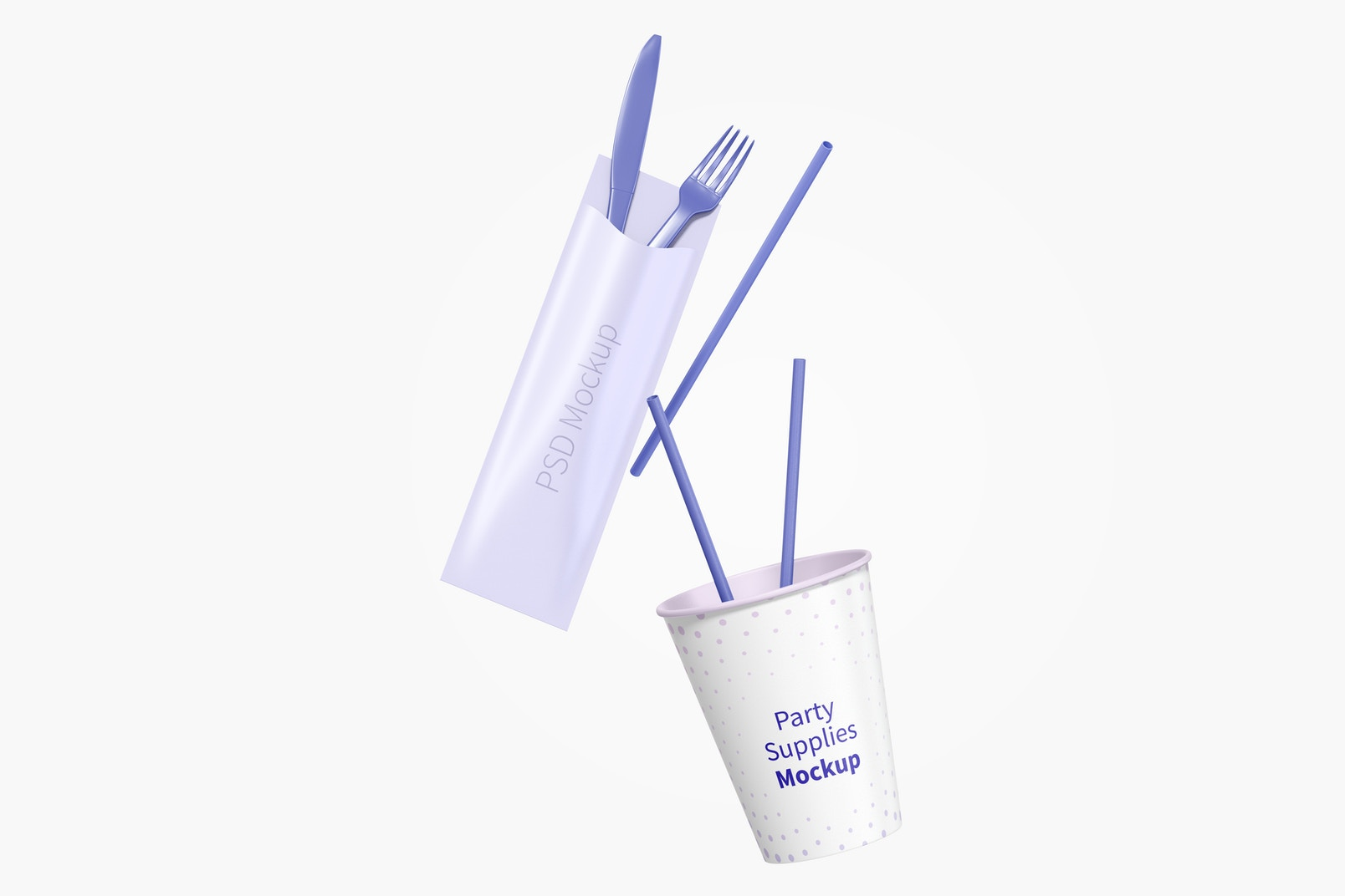 Party Supplies Mockup, Floating