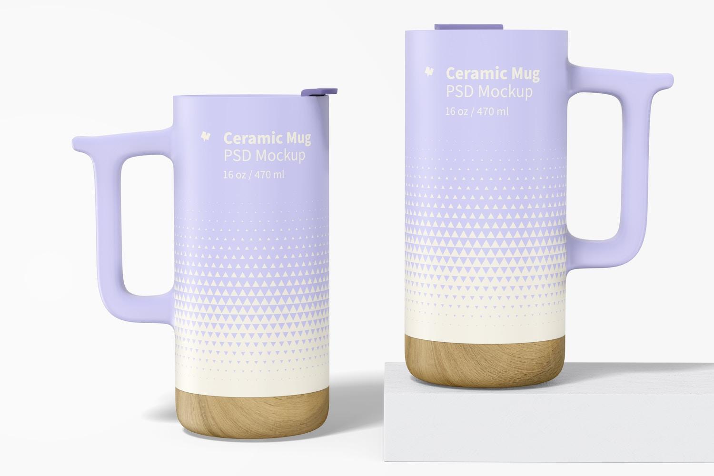 16 oz Ceramic Mugs with Wood Base Mockup
