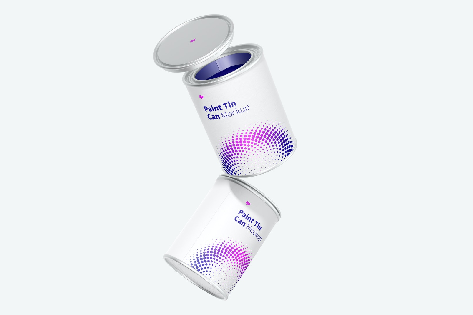 Paint Tin Cans Mockup, Floating