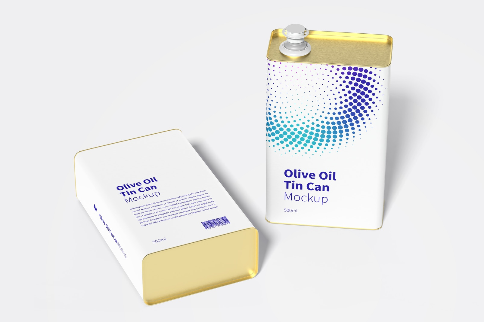 500ml Olive Oil Rectangular Tin Can Mockup, Dropped