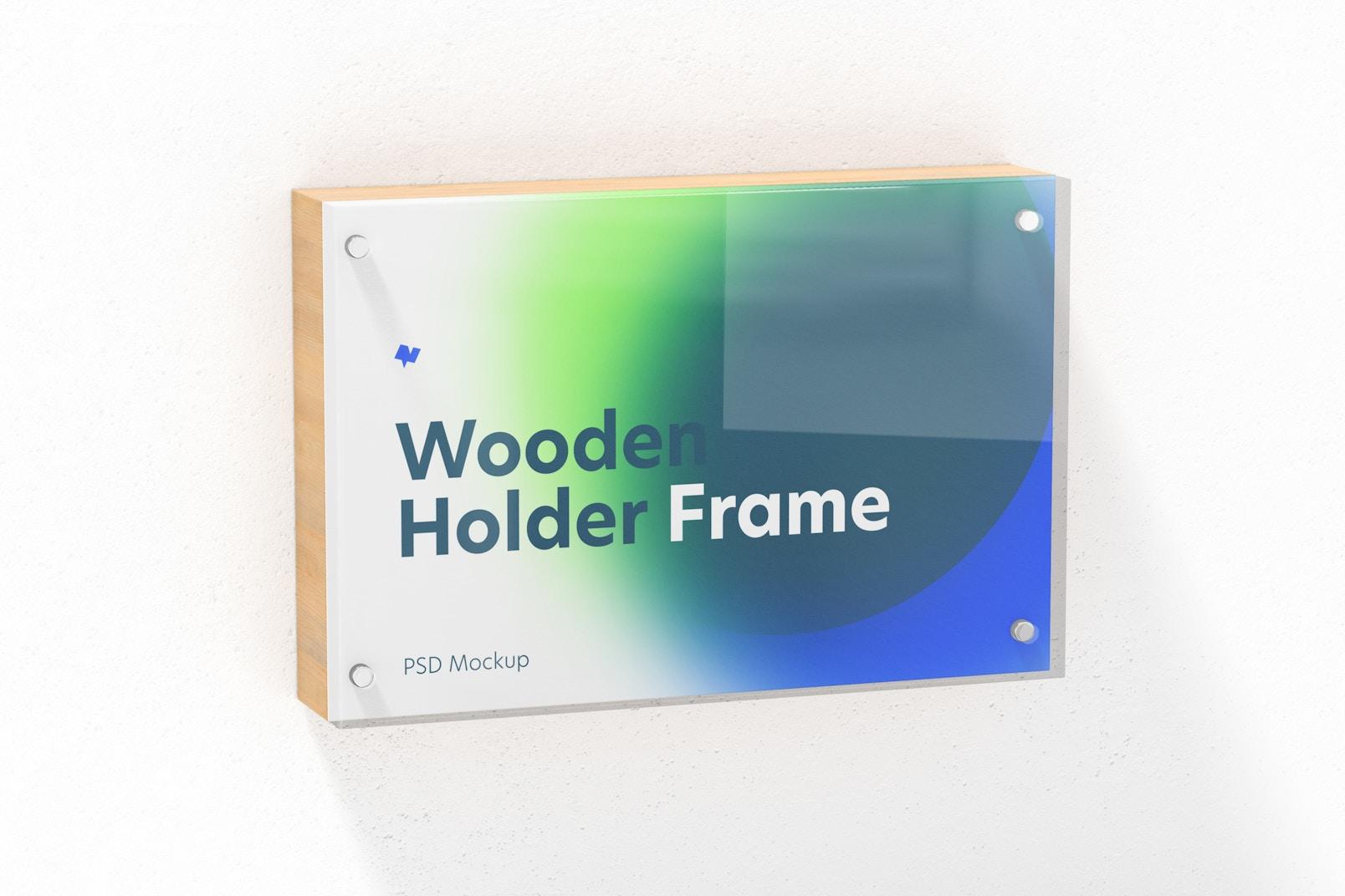 Wooden Label Holder Frame Mockup, Hanging