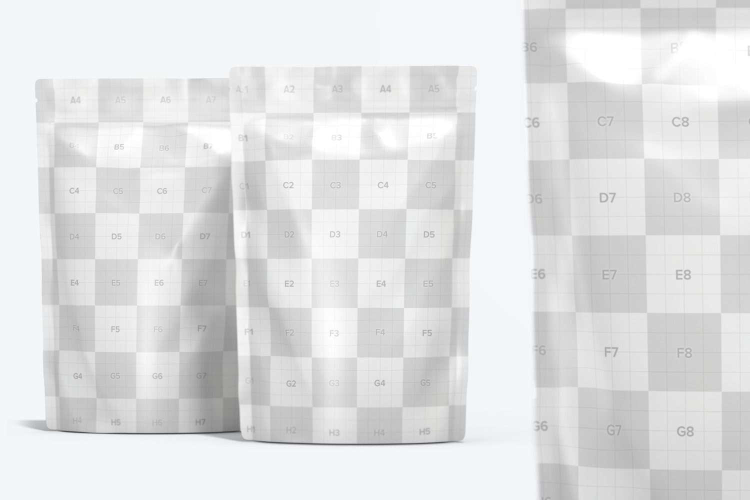 Plastic Pouch Packaging Set Mockup