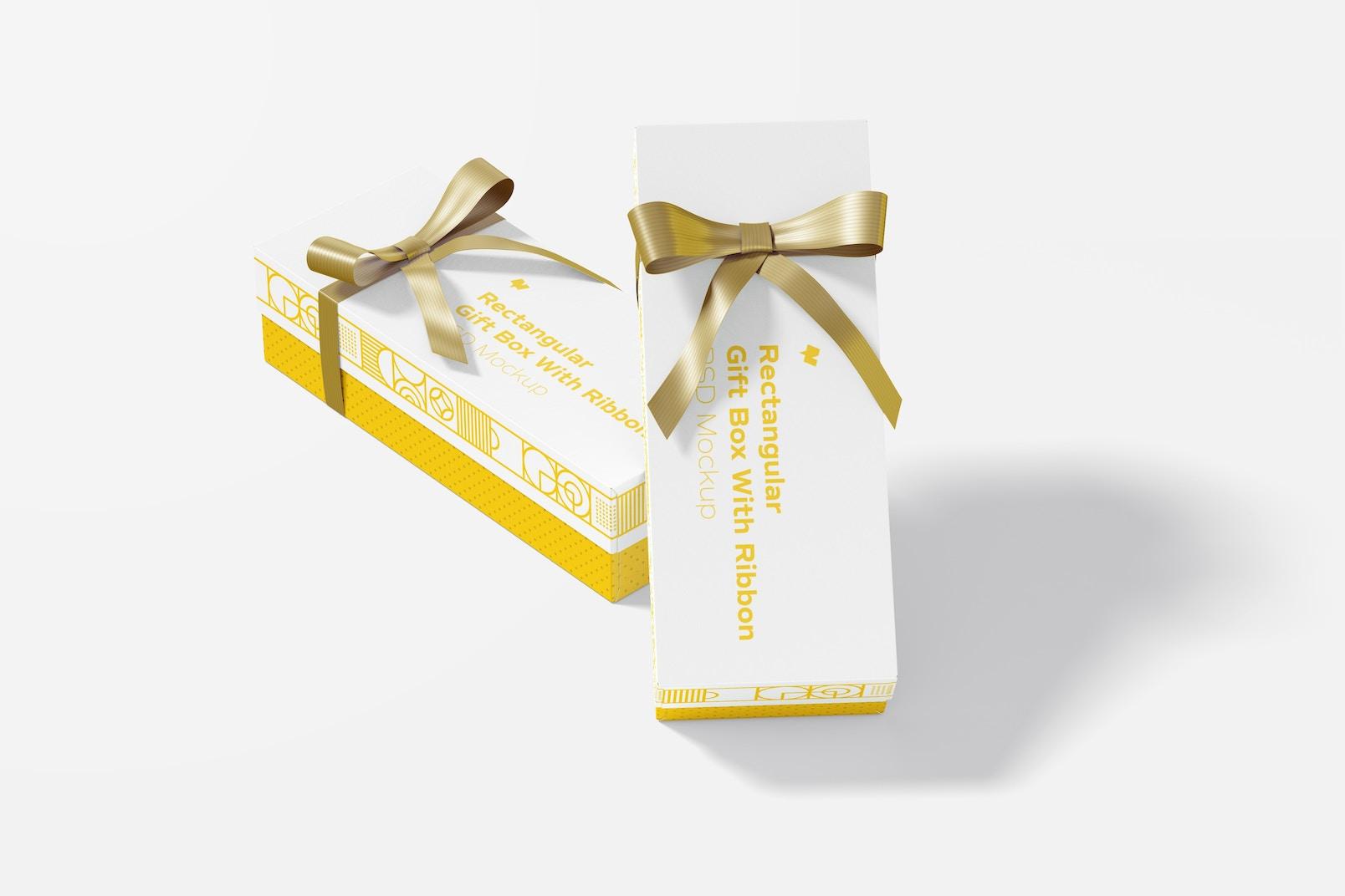 Rectangular Gift Boxes With Ribbon Set Mockup