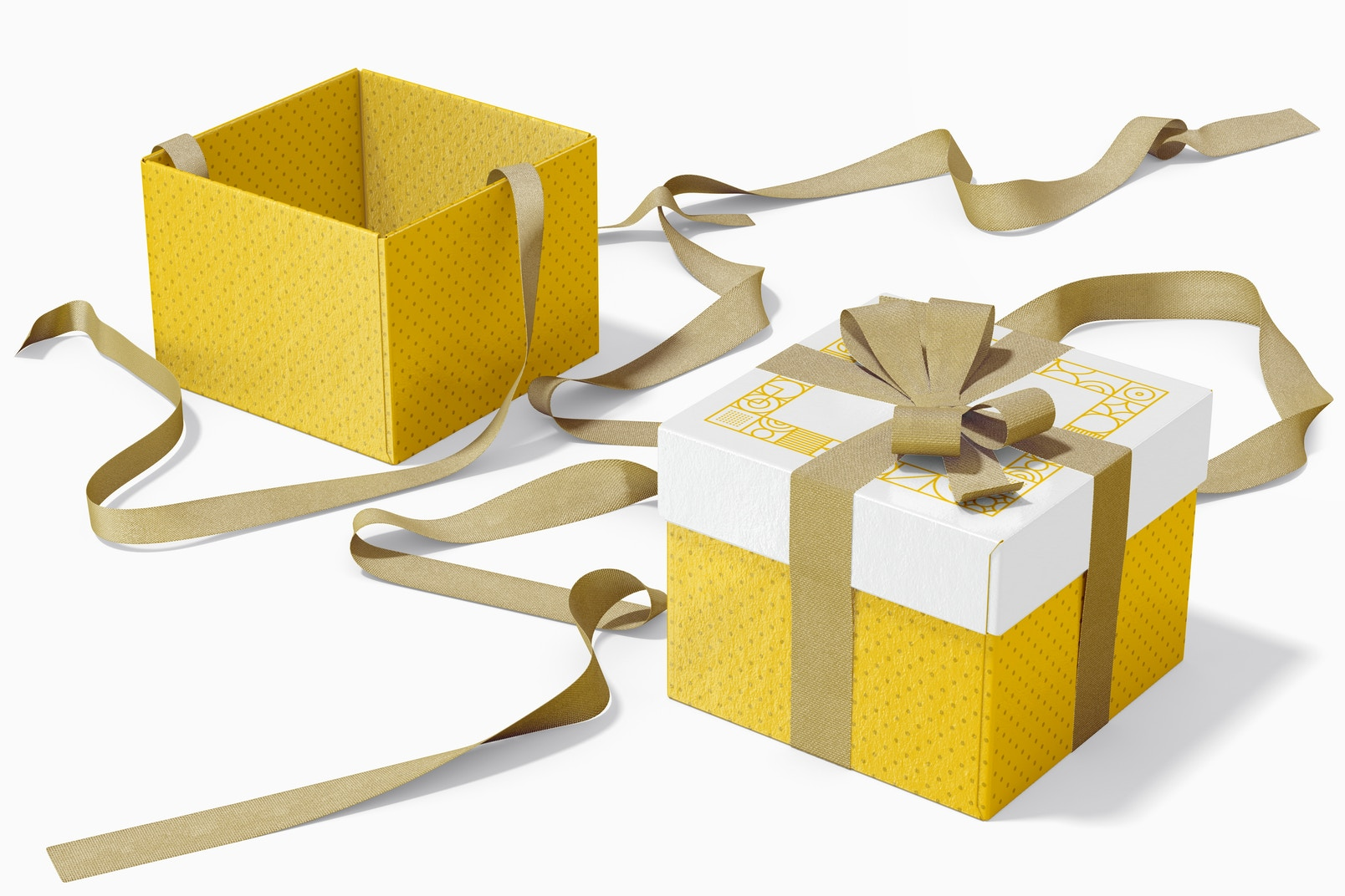 Cube Gift Boxes With Ribbon Mockup, Opened and Closed