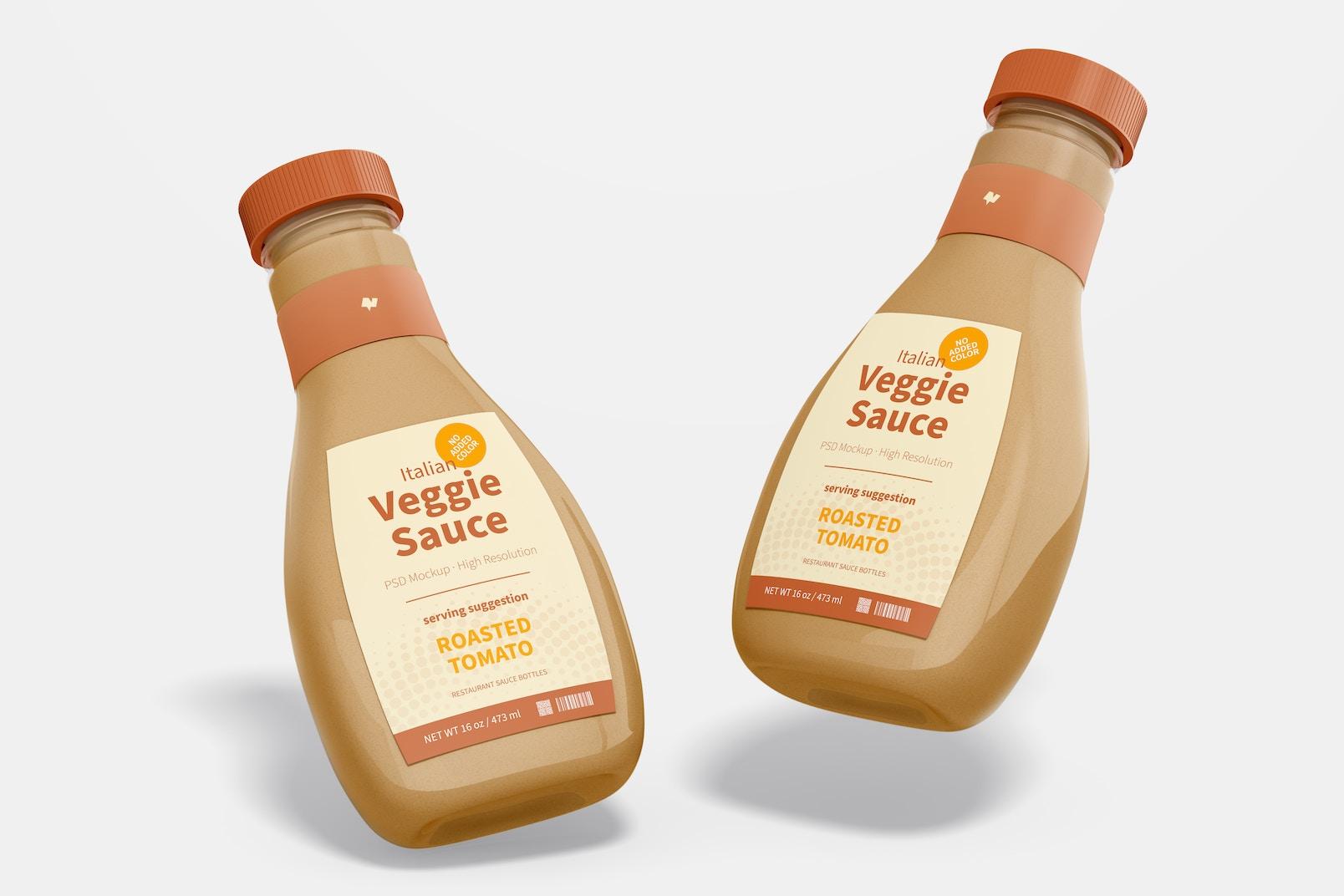 Maqueta de Botella de Salsa Vegetariana, Flotando