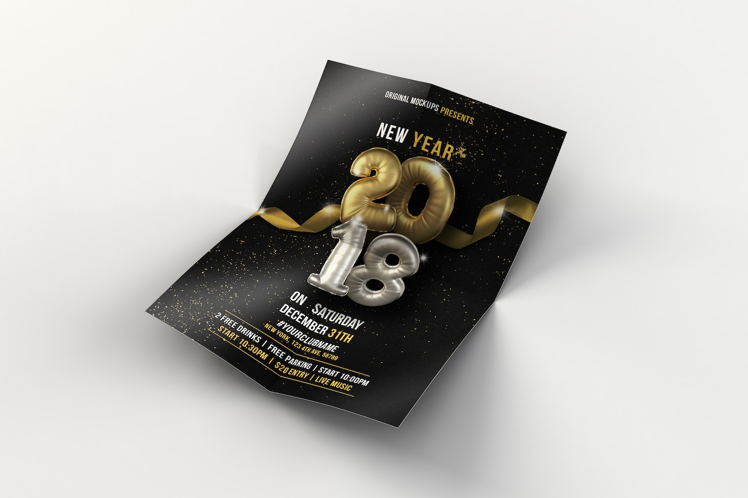 New Year Flyer - Poster 01 by Original Mockups on Original Mockups