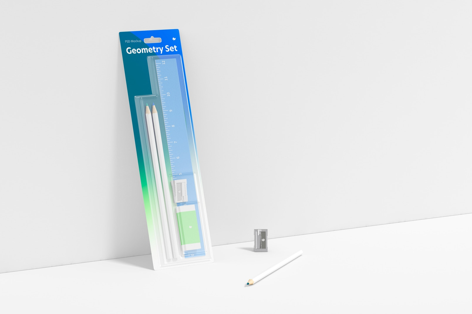 Geometry Ruler and Pencil Set Mockup, Leaned