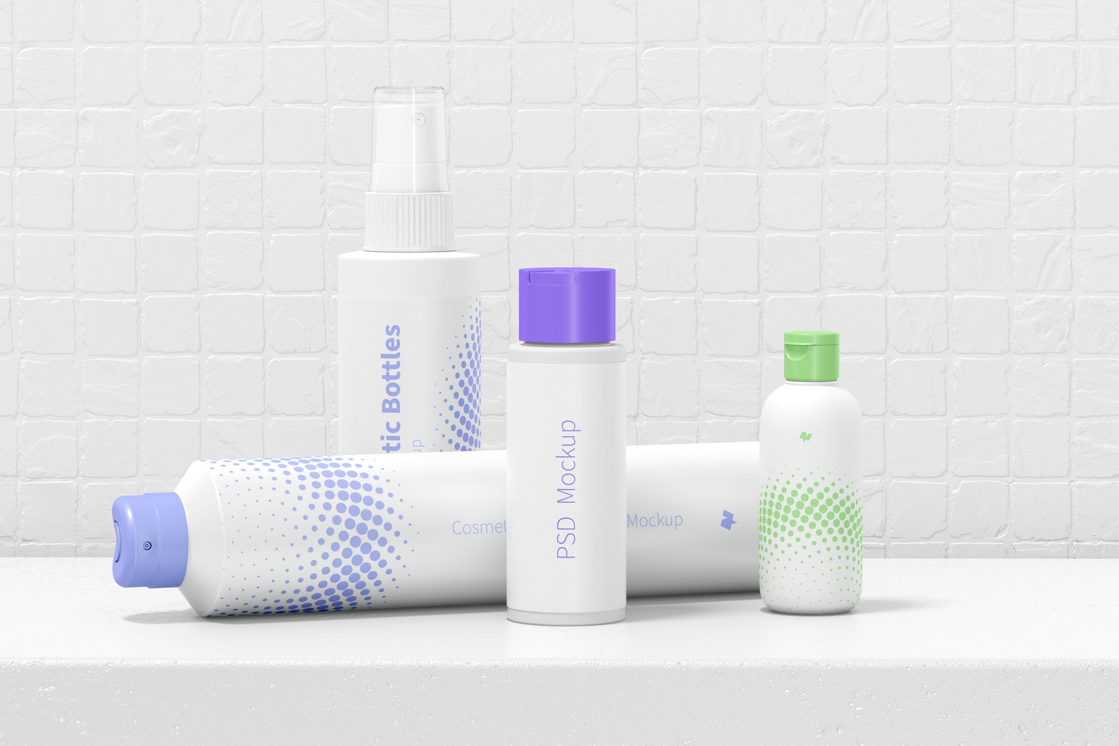 Cosmetic Bottles Scene Mockup, Front View