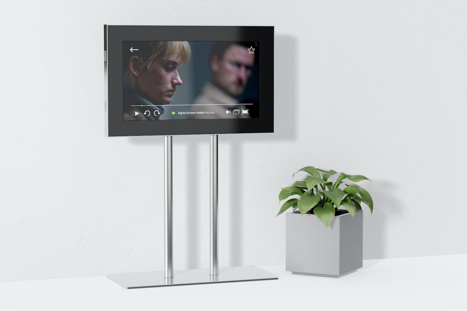 Digital Screen Holder with Pot Mockup