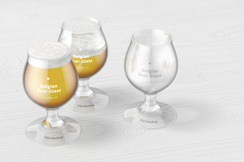 13 oz Belgian Beer Glasses Mockup