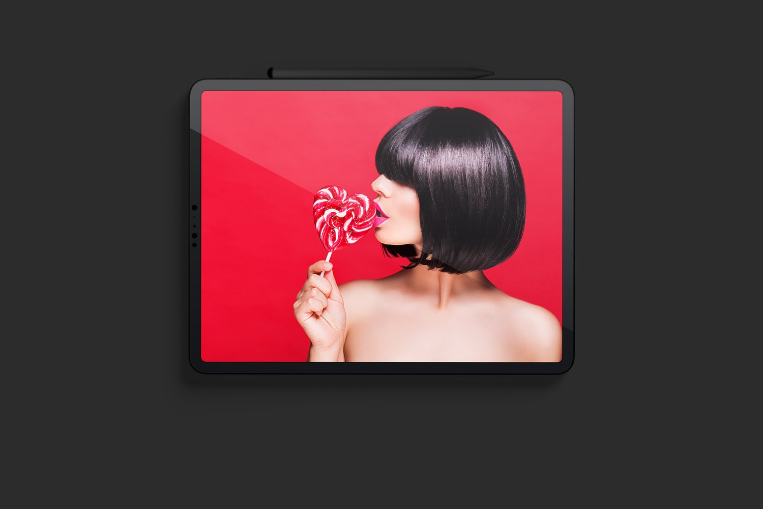 """Clay iPad Pro 12.9"""" Mockup, Landscape Front View"""