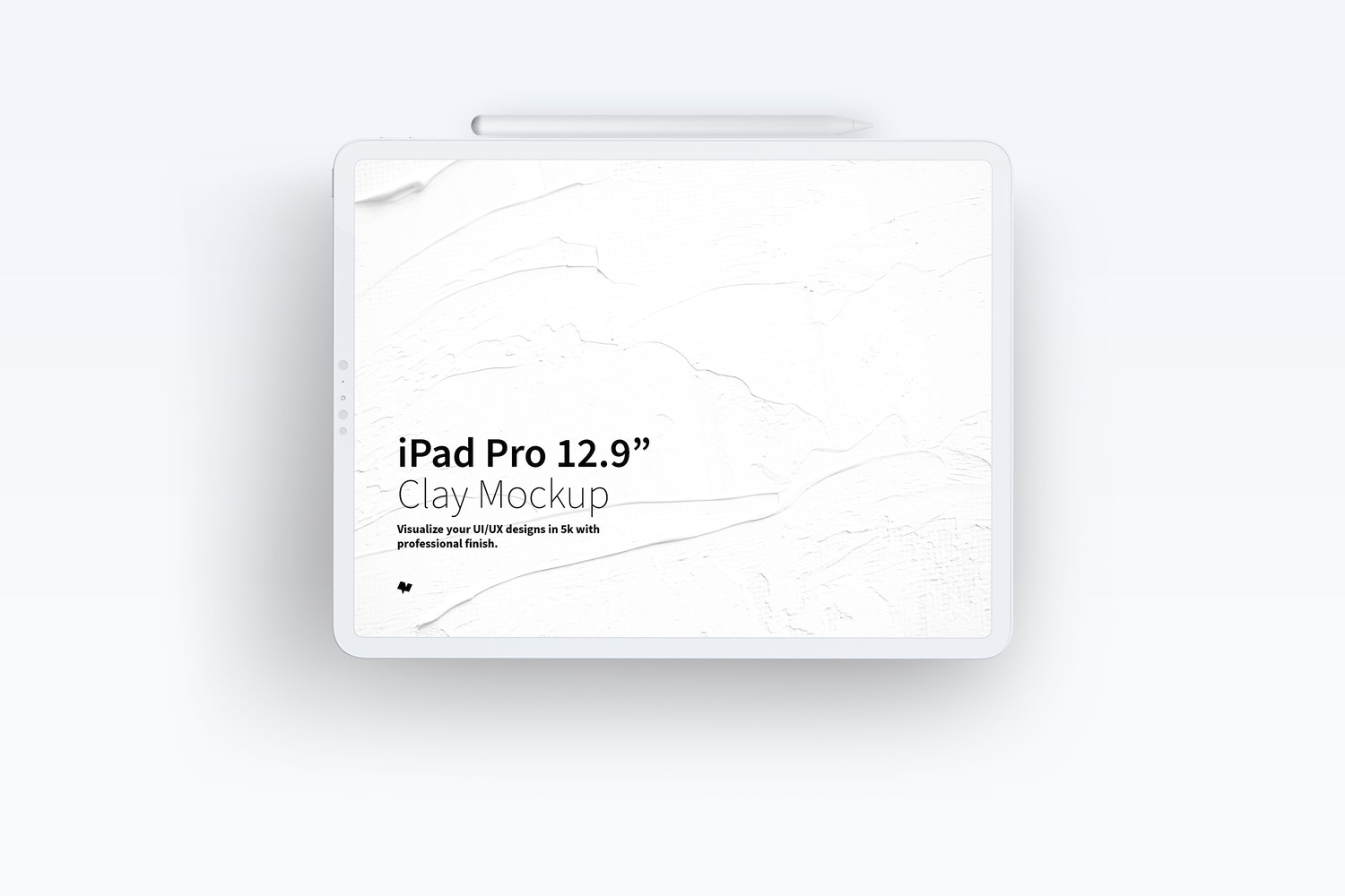 "Clay iPad Pro 12.9"" Mockup, Landscape Front View by Original Mockups on Original Mockups"