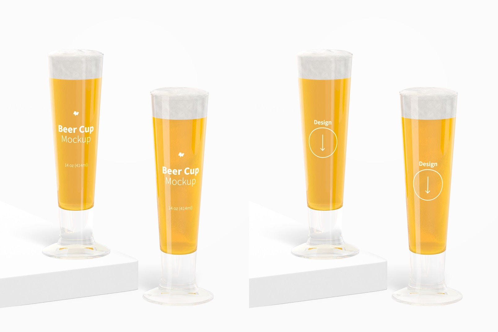 14 oz Glass Beer Cups Mockup, Front View