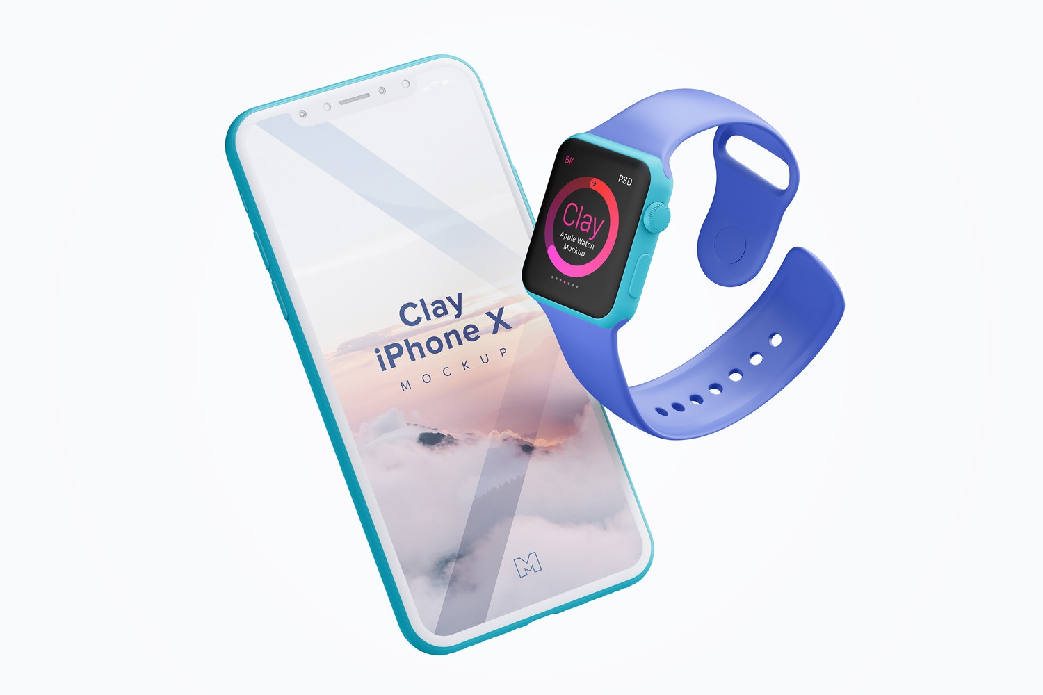 Clay Apple Watch and iPhone X Mockup
