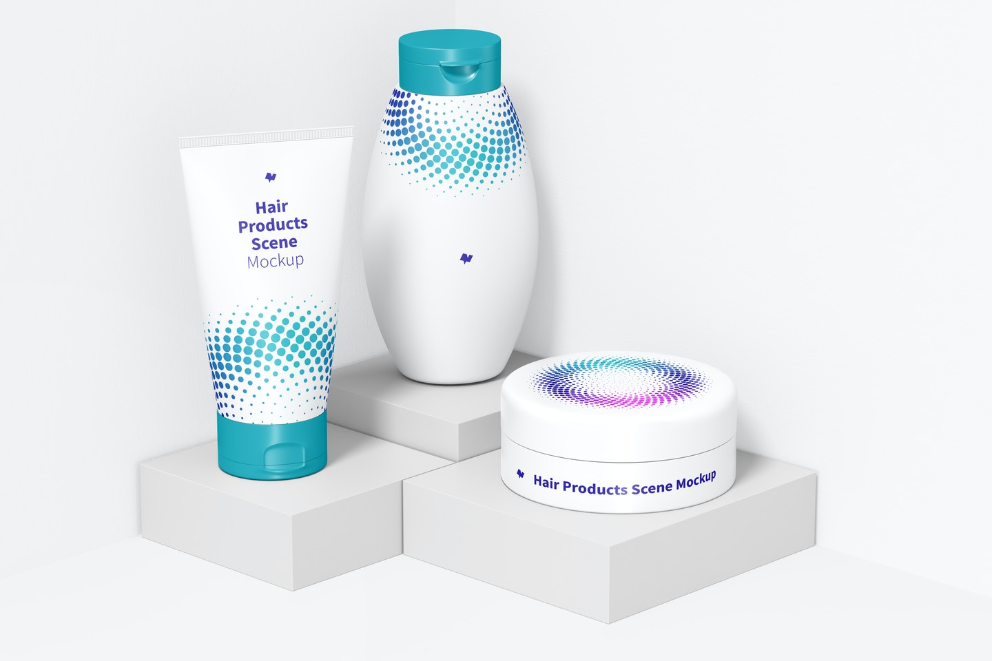Hair Products Scene Mockup, Perspective