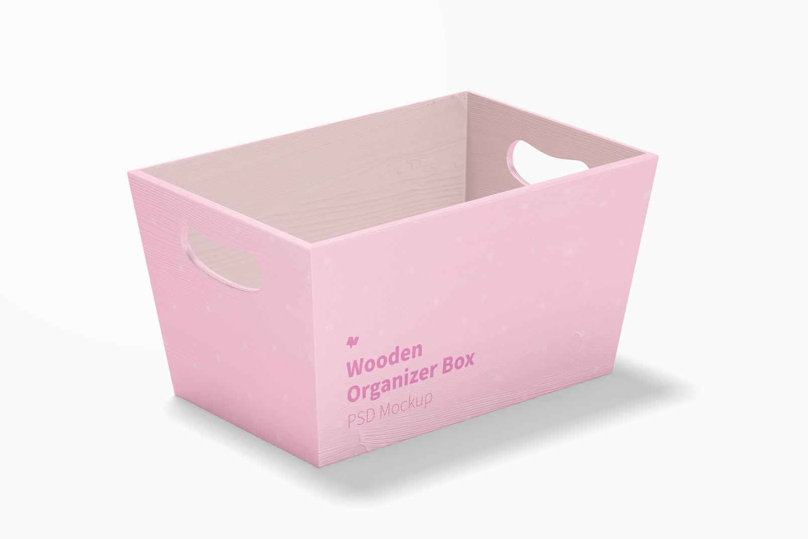 Wooden Organizer Box Mockup, Perspective