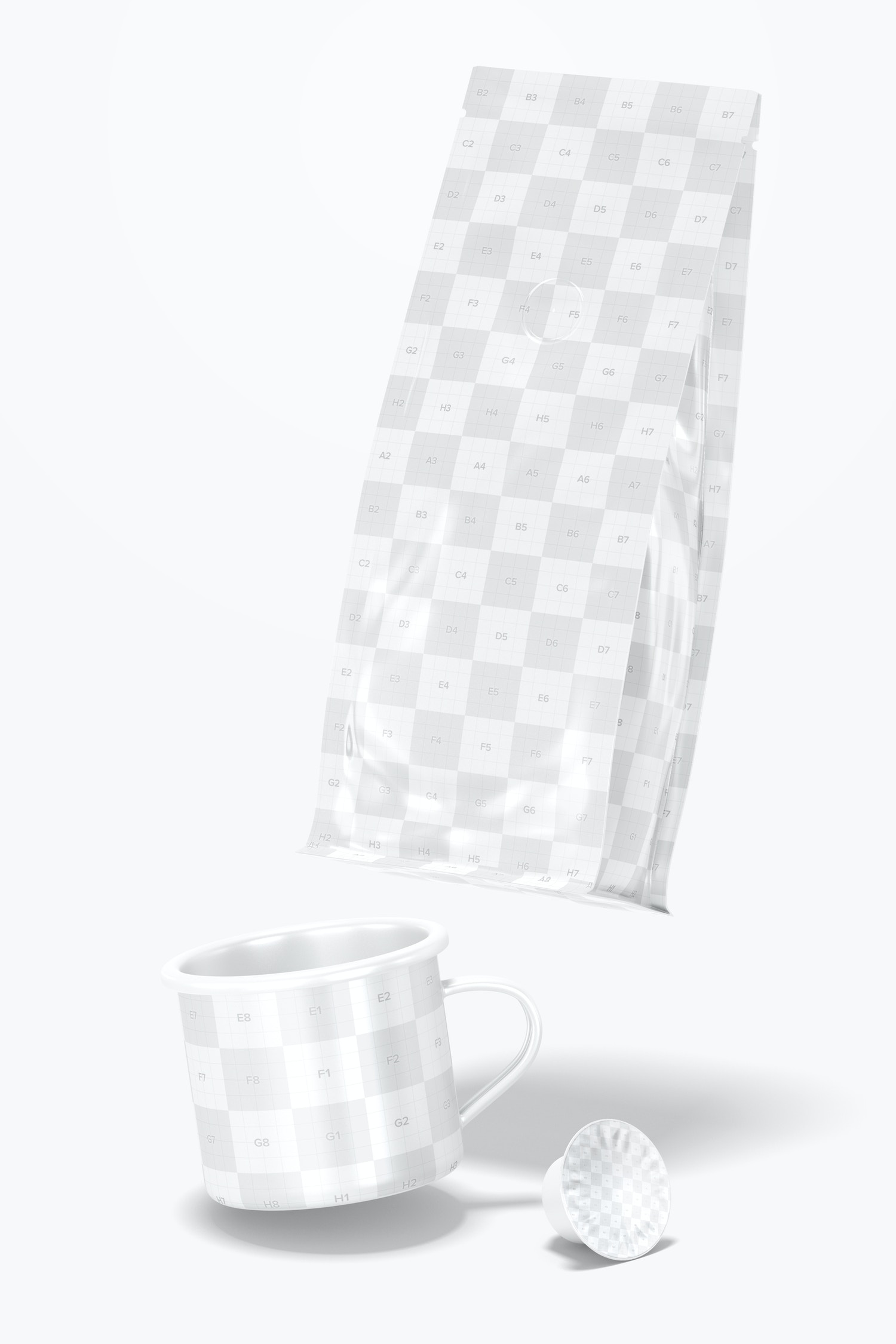 Coffee Packaging Scene Mockup, Falling