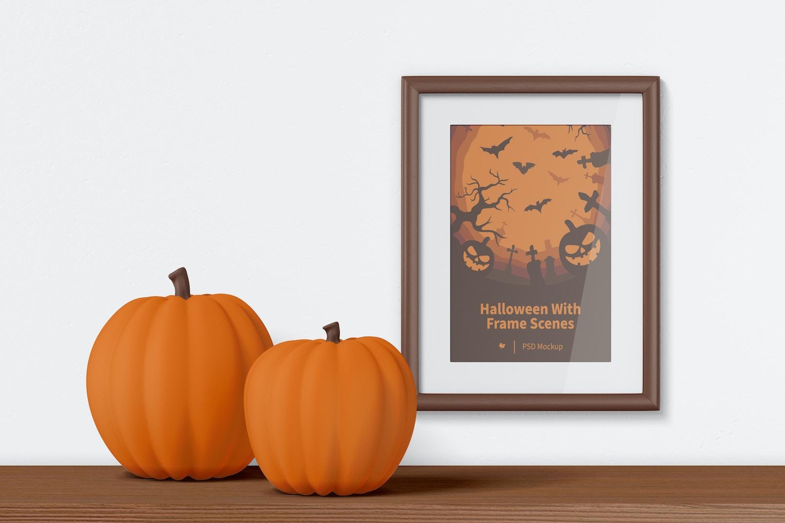 Halloween with Frame on Wall Scene Mockup