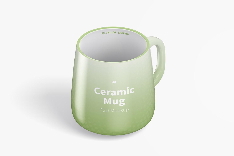 12.2 oz Ceramic Mug Mockup, Isometric Right View