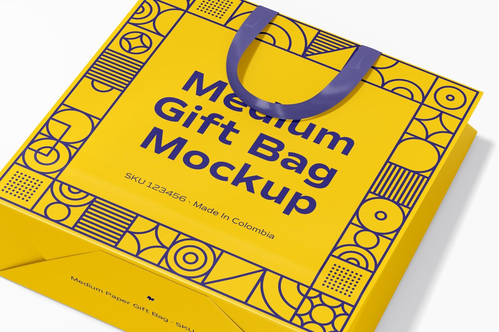 Medium Gift Bag with Ribbon Handle Mockup, Close Up