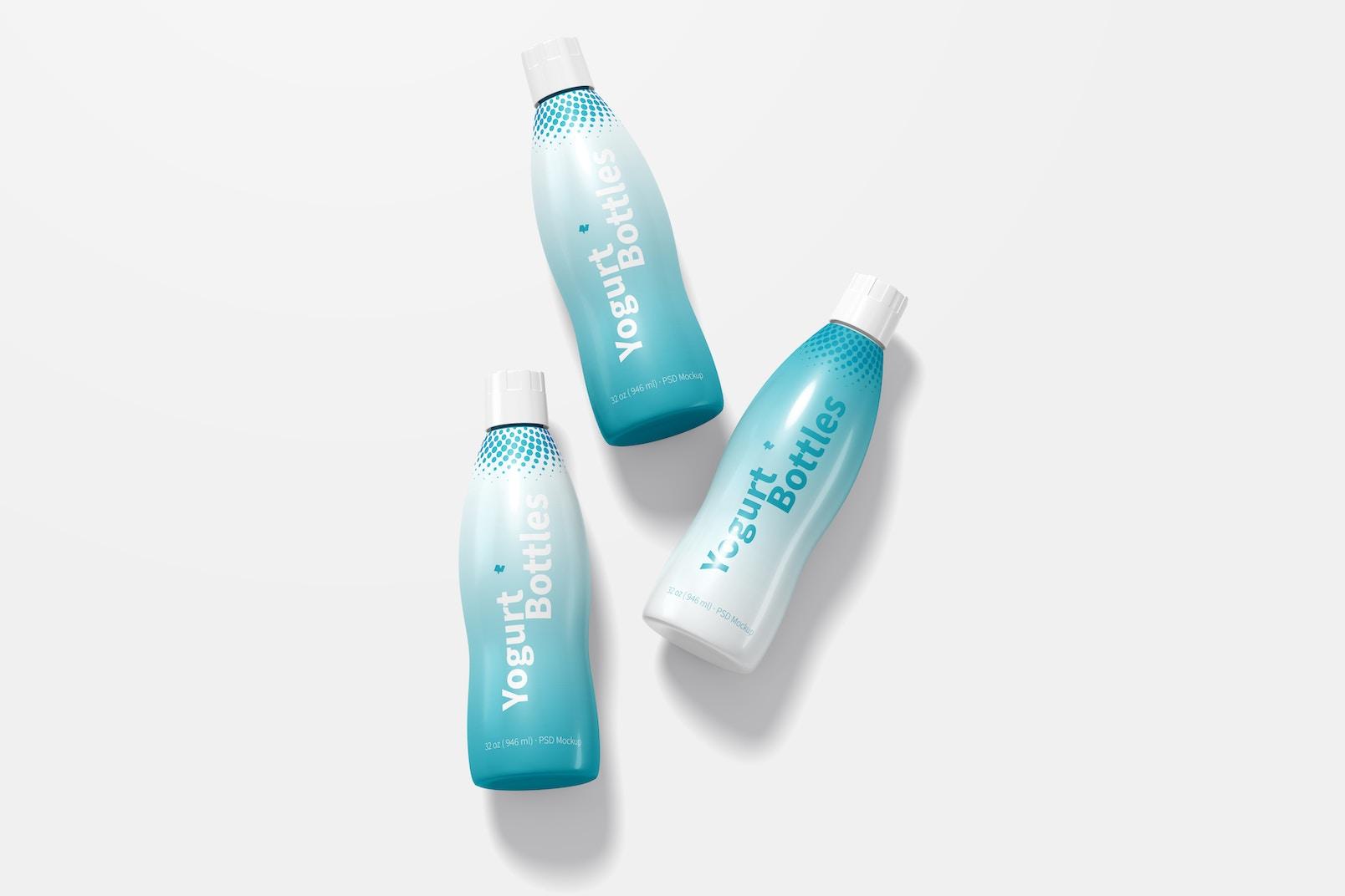 Maqueta de Botellas de 32 oz para Yogurt, Vista Superior