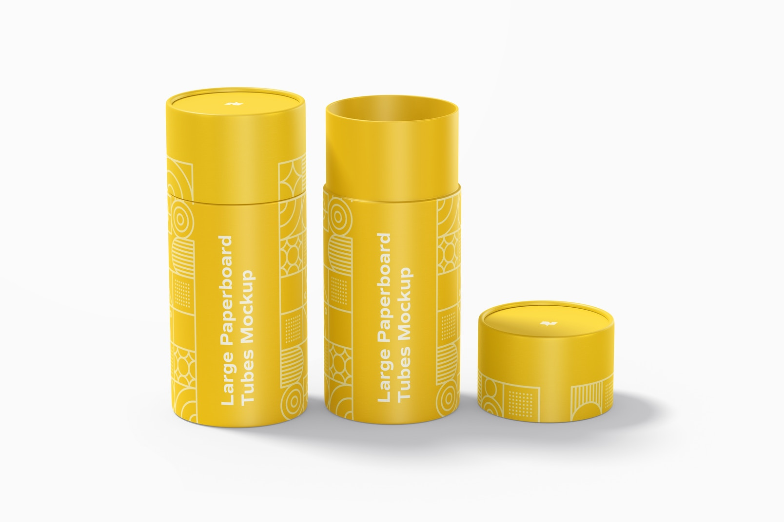 Large Paperboard Tubes Mockup, Opened and Closed