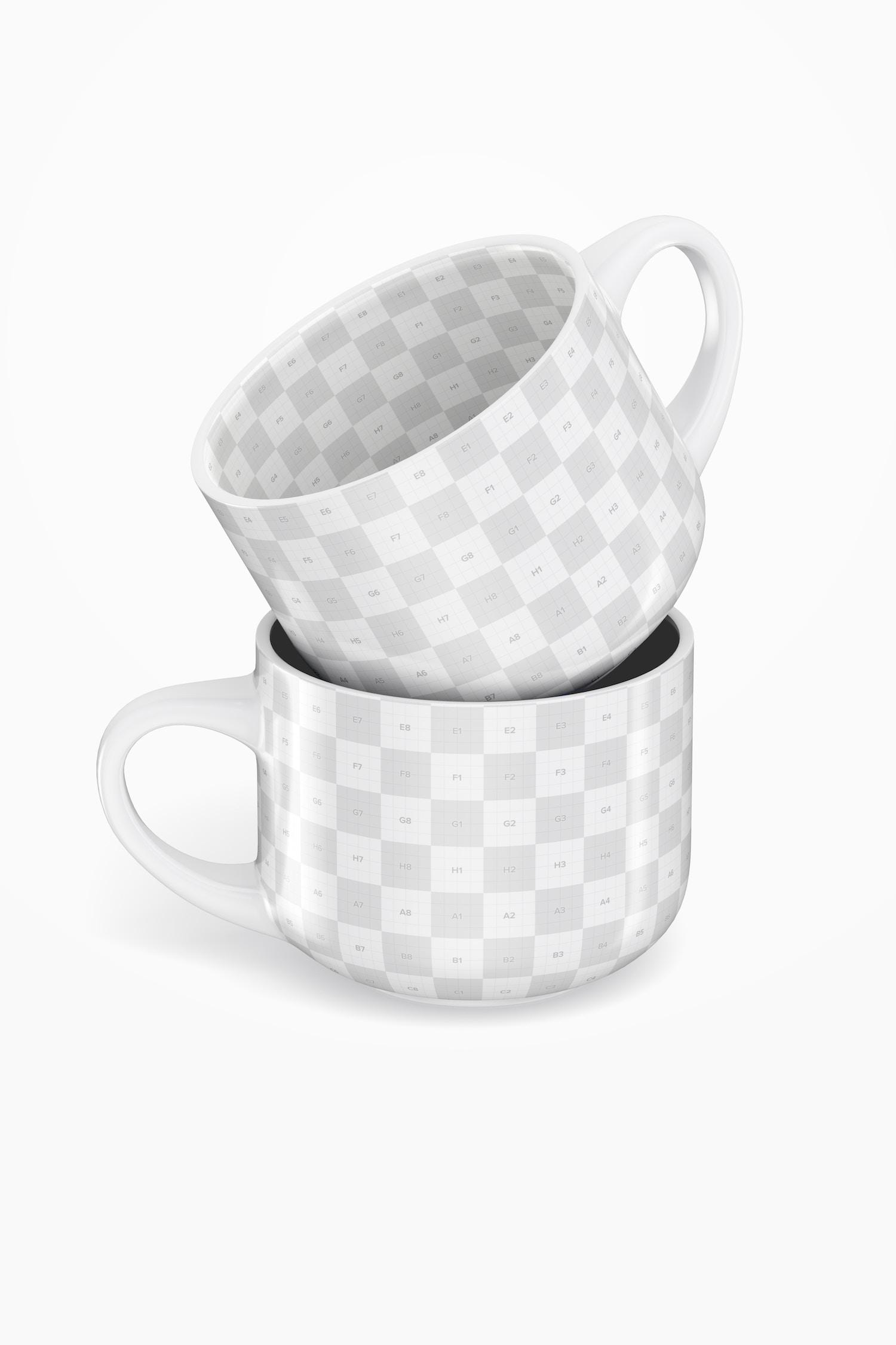 15 oz Jumbo Ceramic Soup Mug Mockup, Stacked