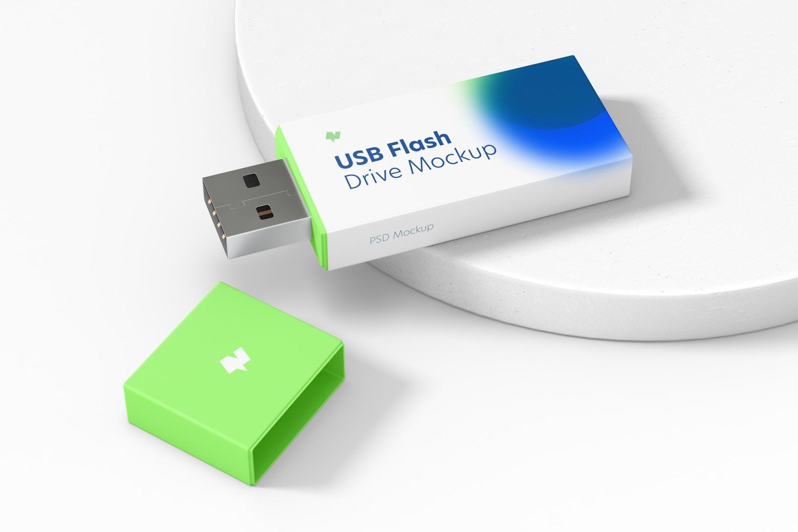 Maqueta de Memoria USB Plástica, Vista Izquierda