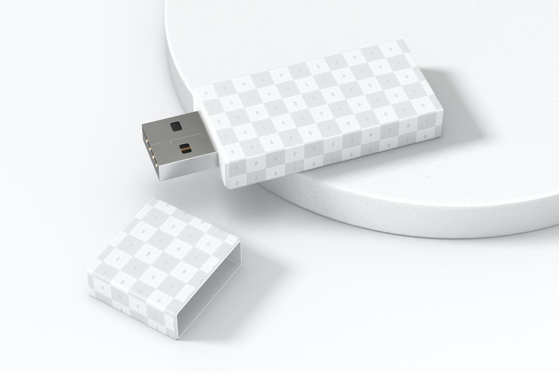 Plastic USB Flash Drive Mockup, Left View