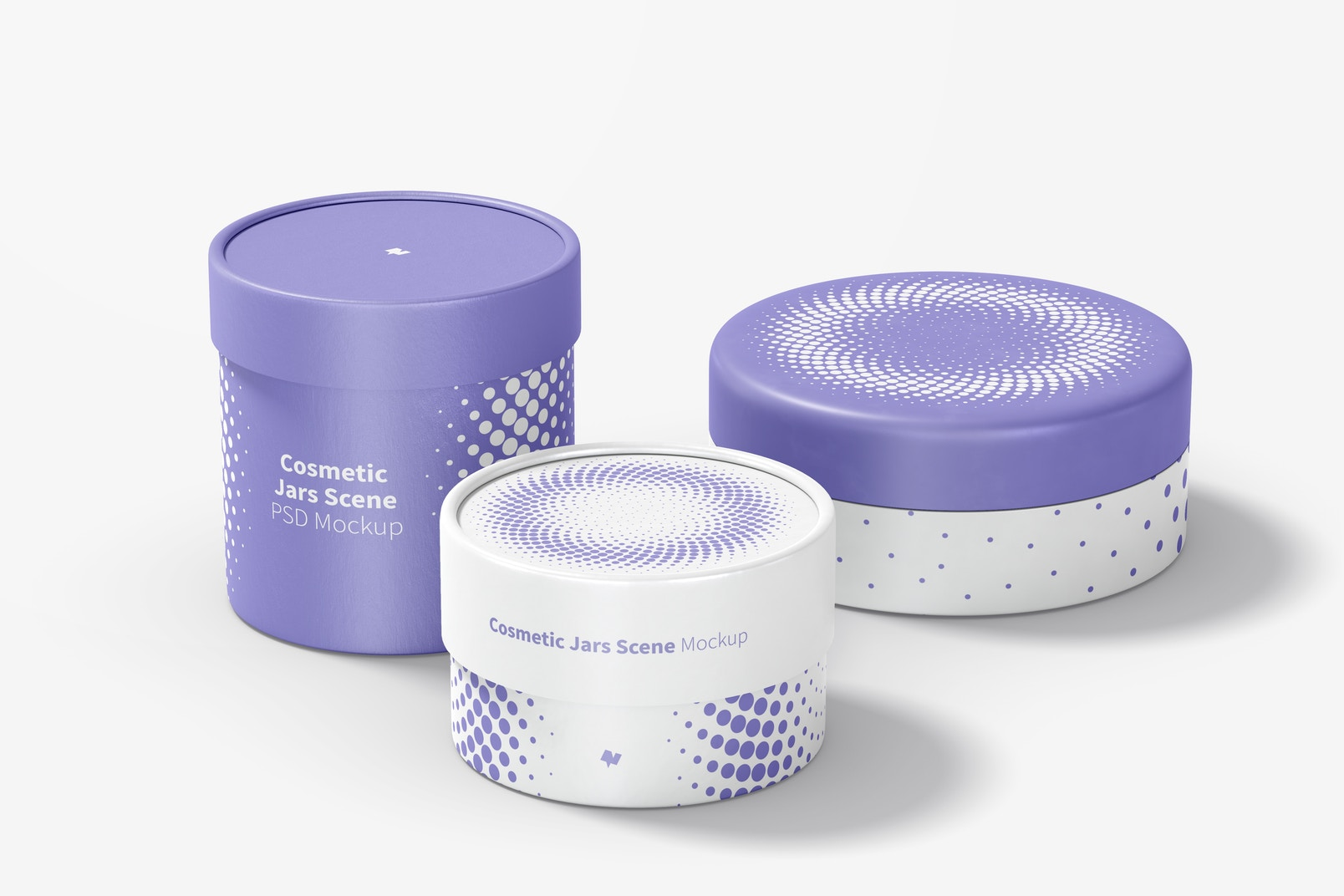 Cosmetic Jars Scene Mockup, Perspective View