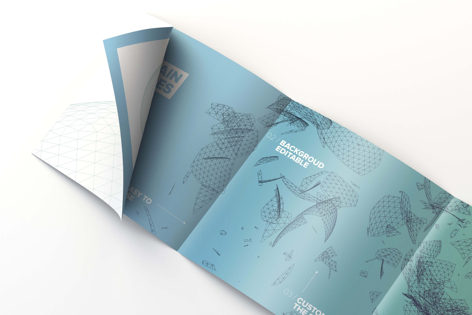 Inside Square 4-Fold Brochure Rolled Page Mockup 01