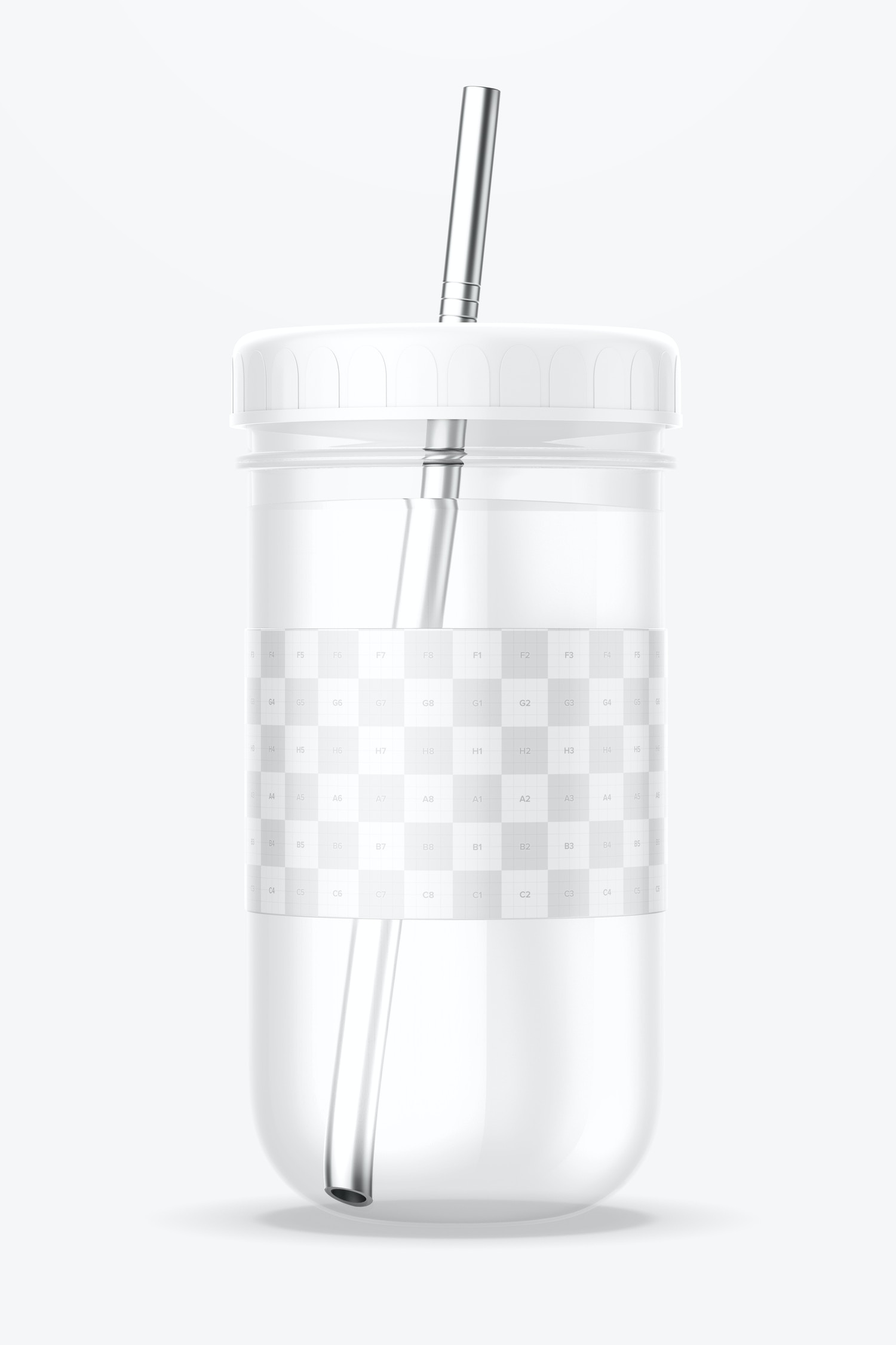 Smoothie Cup with Lid Mockup, Front View