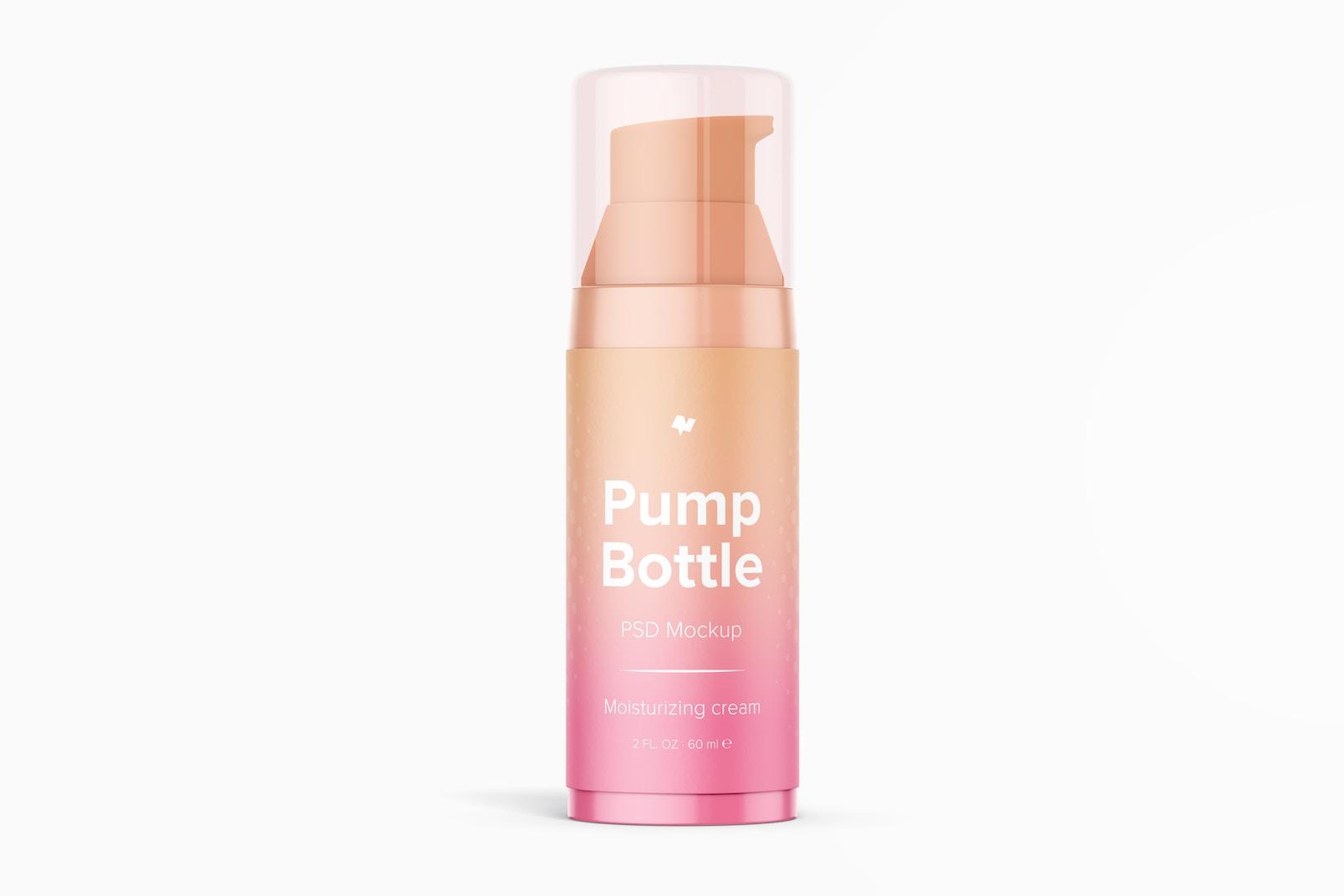 2 oz Pump Bottle Mockup, Front View